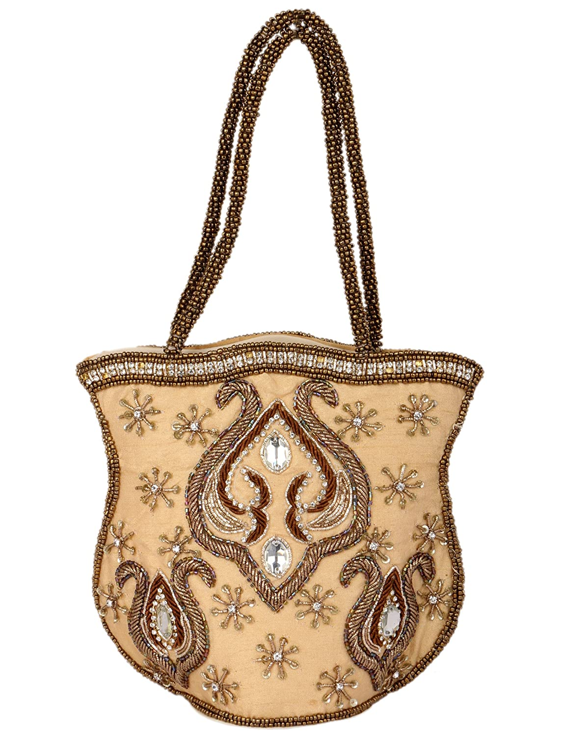 Spice Art Golden Traditional Embroidered Clutch