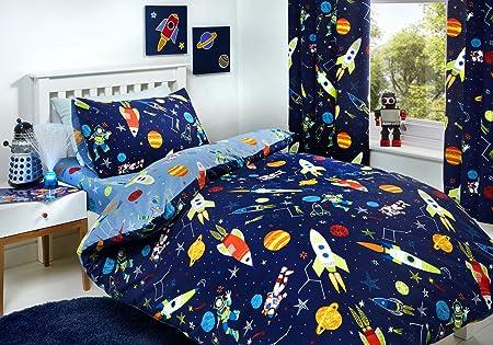 Space Blue Bedding House 100/% Cotton SINGLE Size Quilt Doona Cover Set