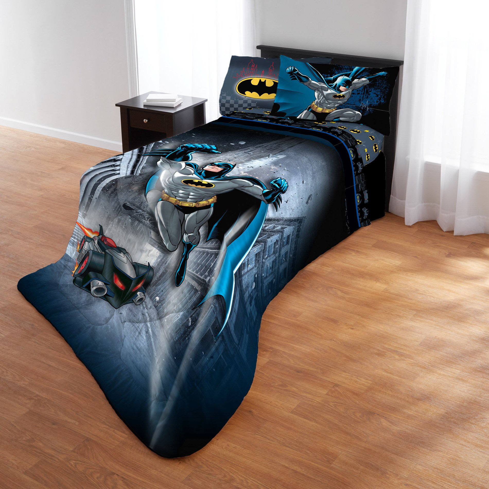5 Piece Multi Color Batman Printed Comforter Set Full, Blue Black Yellow Grey Favorite Superhero Cartoon Magical Movie Teen Themed Reversible Kids Bedding For Bedroom Casual Colorful Fancy, Polyester