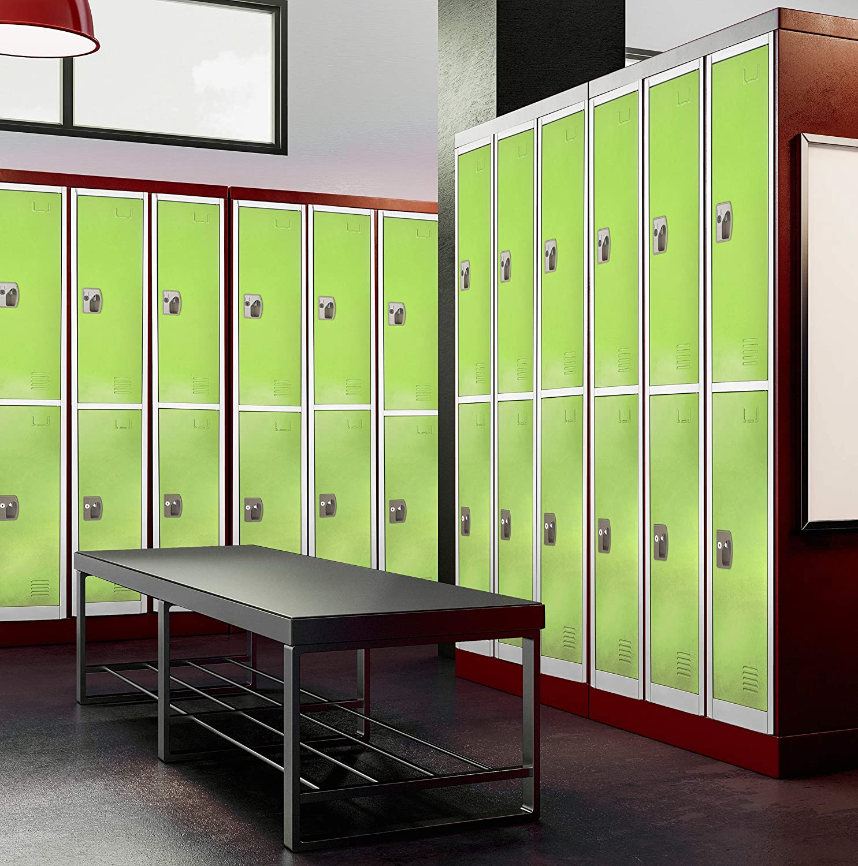 AdirOffice Green Locker with 2 Doors 2 Hooks Storage Locker for Garage Storage Green Office Storage Lockers