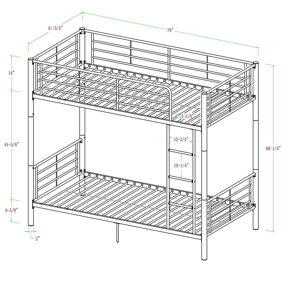Walker Edison Twin-Over-Twin Metal Bunk Bed, Black