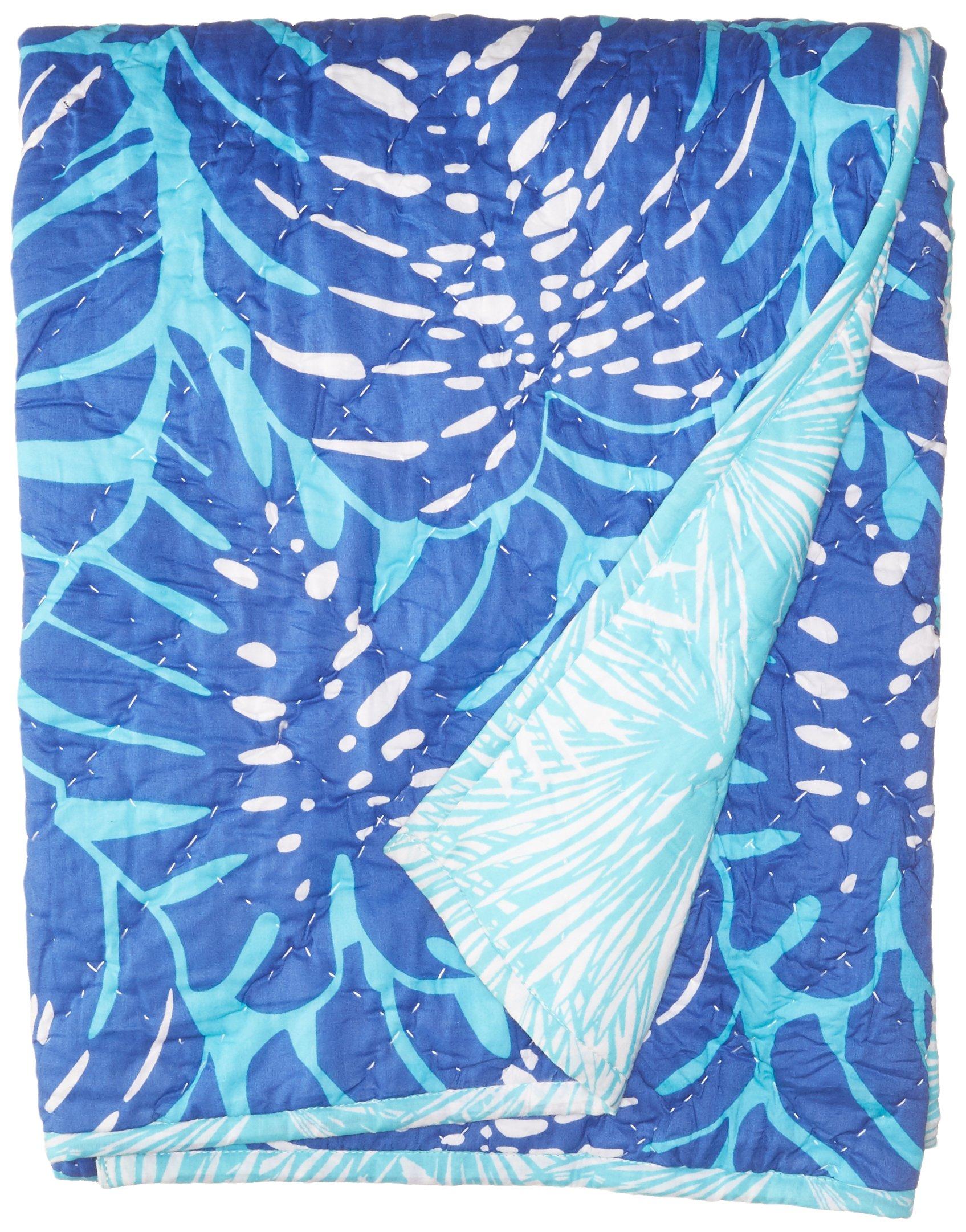 Masala Baby Baby Mokshareversible Quilt, Island Palm Navy, 40x60 by Masala Baby