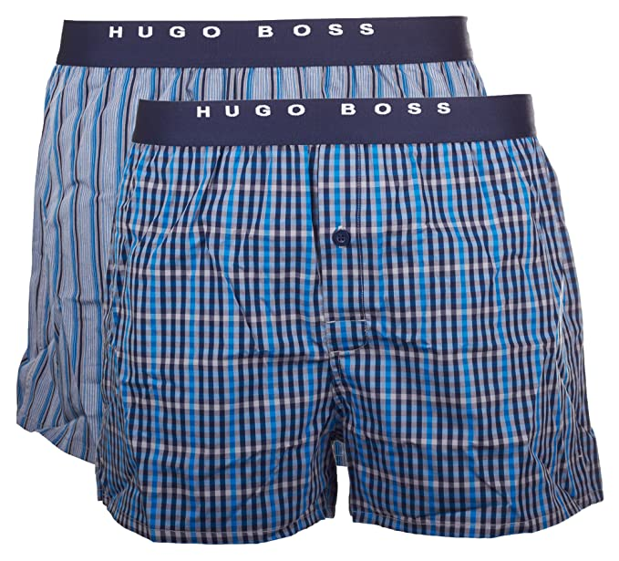 BOSS Hugo Boss Woven Boxer Ew 2p-Bóxer Hombre 437 Blau M