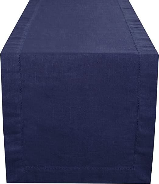 Amazon Com Navy Table Runner 90 Inch In Textured Cotton Slub With Hemstitched Detailing Decorative Table Runner Farmhouse Table Runner Rustic Bridal Table Runner Wedding Table Runner 16x72 Inch Navy Home Kitchen