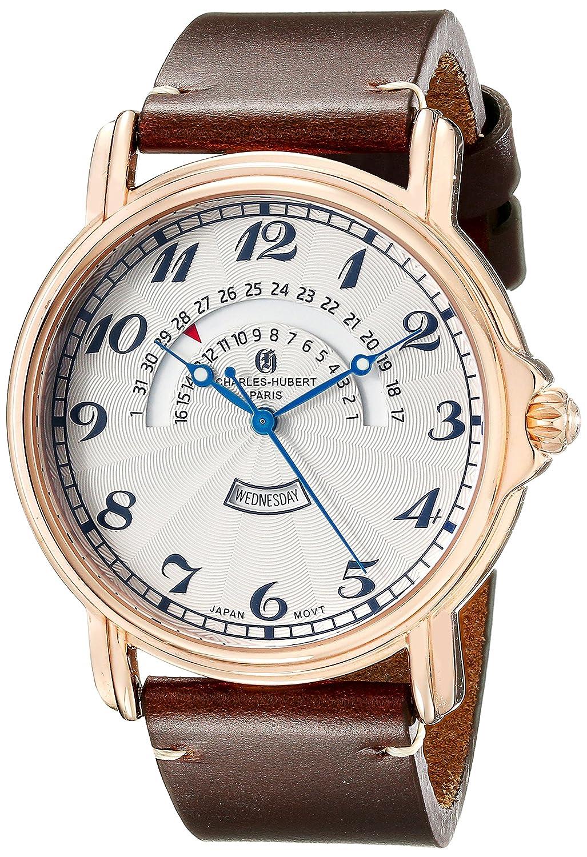 Charles-Hubert-Paris Herren-Armbanduhr 46mm Armband Kalbsleder Braun GehÄuse Edelstahl Quarz 3961-RG