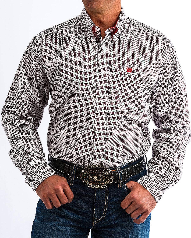 Cinch Men's Classic Fit Long Sleeve Button One Open Pocket Print Shirt, White/Burgundy, XXL