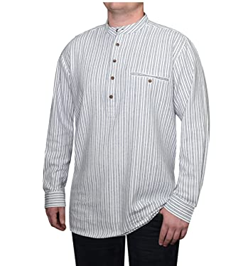 86d5e037 Lee Valley - Genuine Irish Striped Cotton Flannel Grandfather Shirt - Men's  (Small, Blue