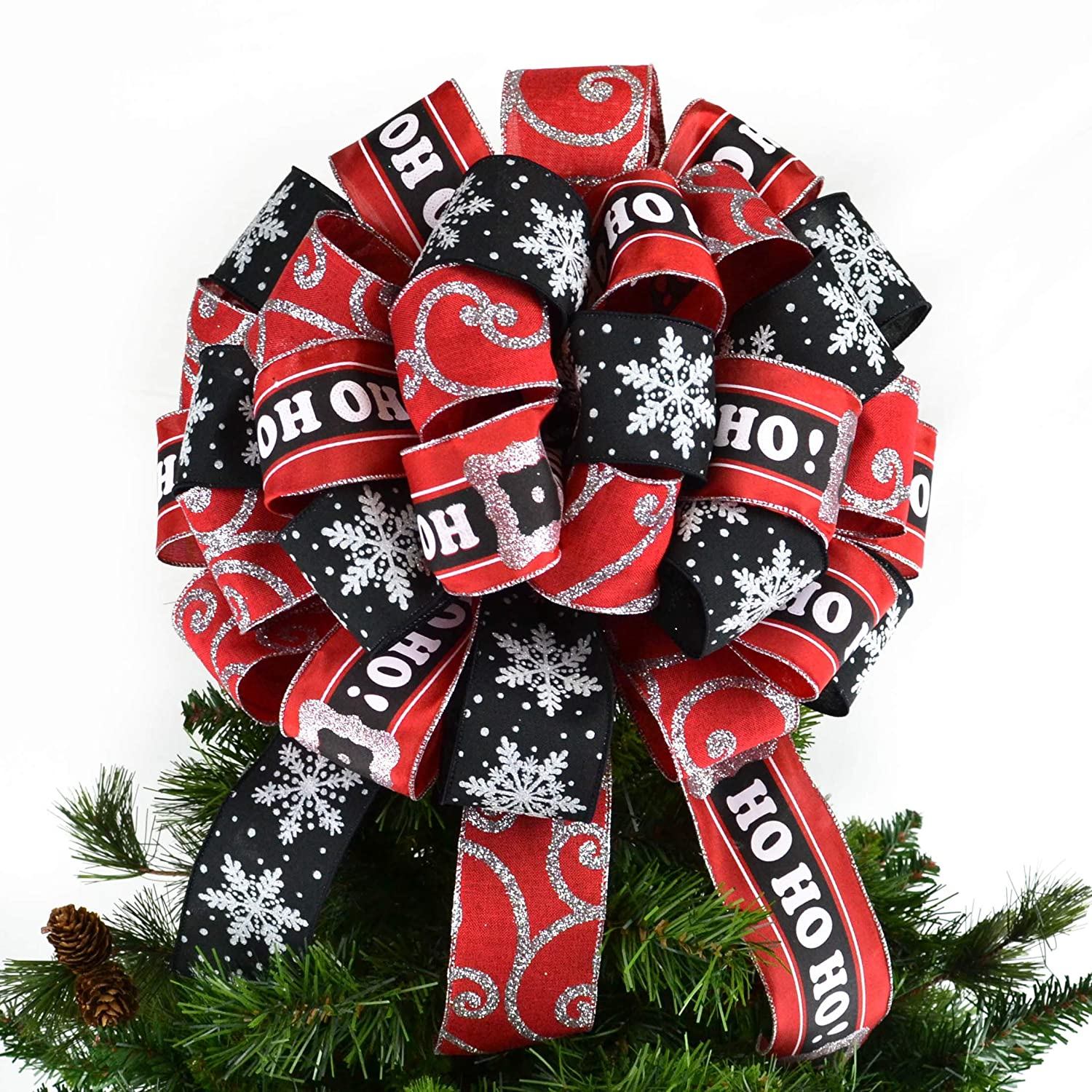red black white silver bow tree topper christmas tree bow big present gift box bow tb9
