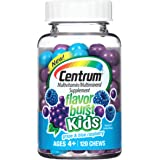 Centrum Kids Flavor Burst (120 Count, Grape and Blue Raspberry Flavor) Multivitamin / Multimineral Supplement Chews, Vitamin A, Vitamin C, Vitamin D