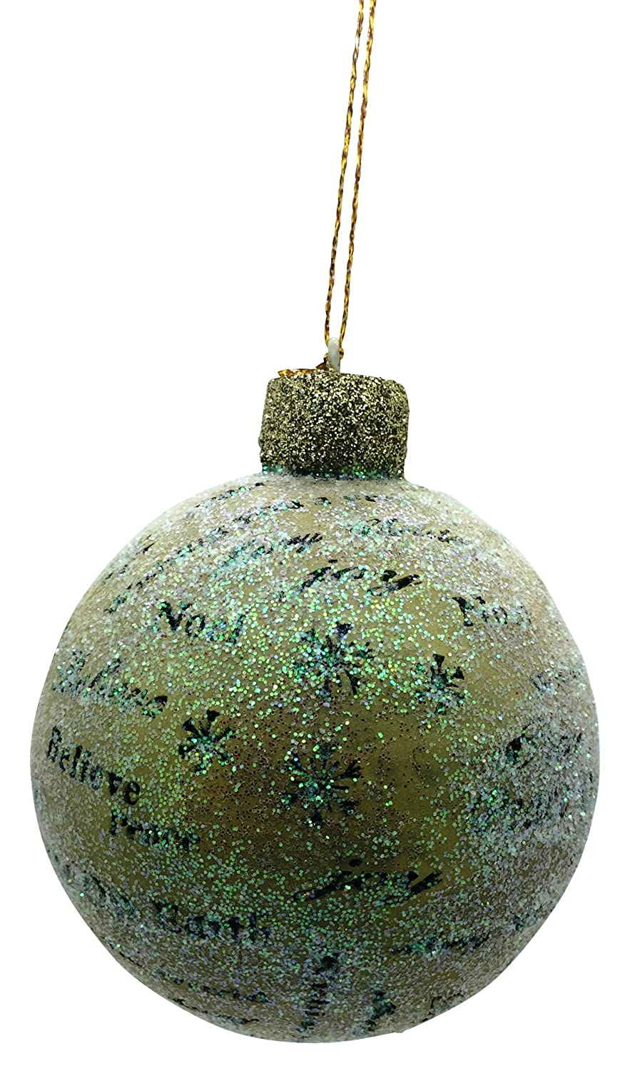 Christmas Round With assorted Christmas Words Glass 3 inch Ornament