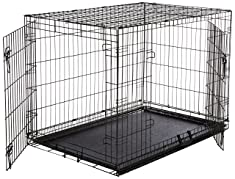 AmazonBasics Folding Metal Dog Crate – Double Door Design