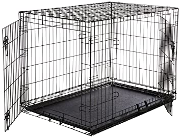 doubledoor folding metal dog crate large 42x28x30 inches