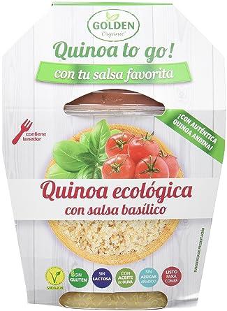 Golden Organic Quinoa Cocida con Salsa Basilico Ecológico - Paquete de 15 x 205 gr -