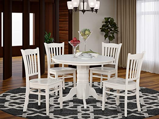 Amazon Com 5 Pc Small Kitchen Table And Chairs Set Round Table And 4 Kitchen Chairs Furniture Decor