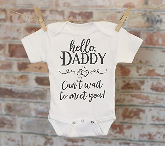 74228dfef Amazon.com: Hello Daddy Pregnancy Reveal Onesie, New Father Gift, Reveal To  Husband, Pregnancy Announcement, Baby Coming Soon Bodysuit, Baby Shower  Gift: ...