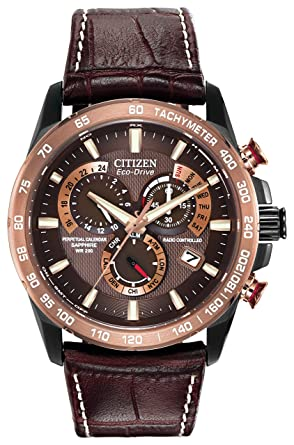 citizen watch perpetual chrono a t men s quartz watch brown citizen watch perpetual chrono a t men s quartz watch brown dial analogue display and brown leather