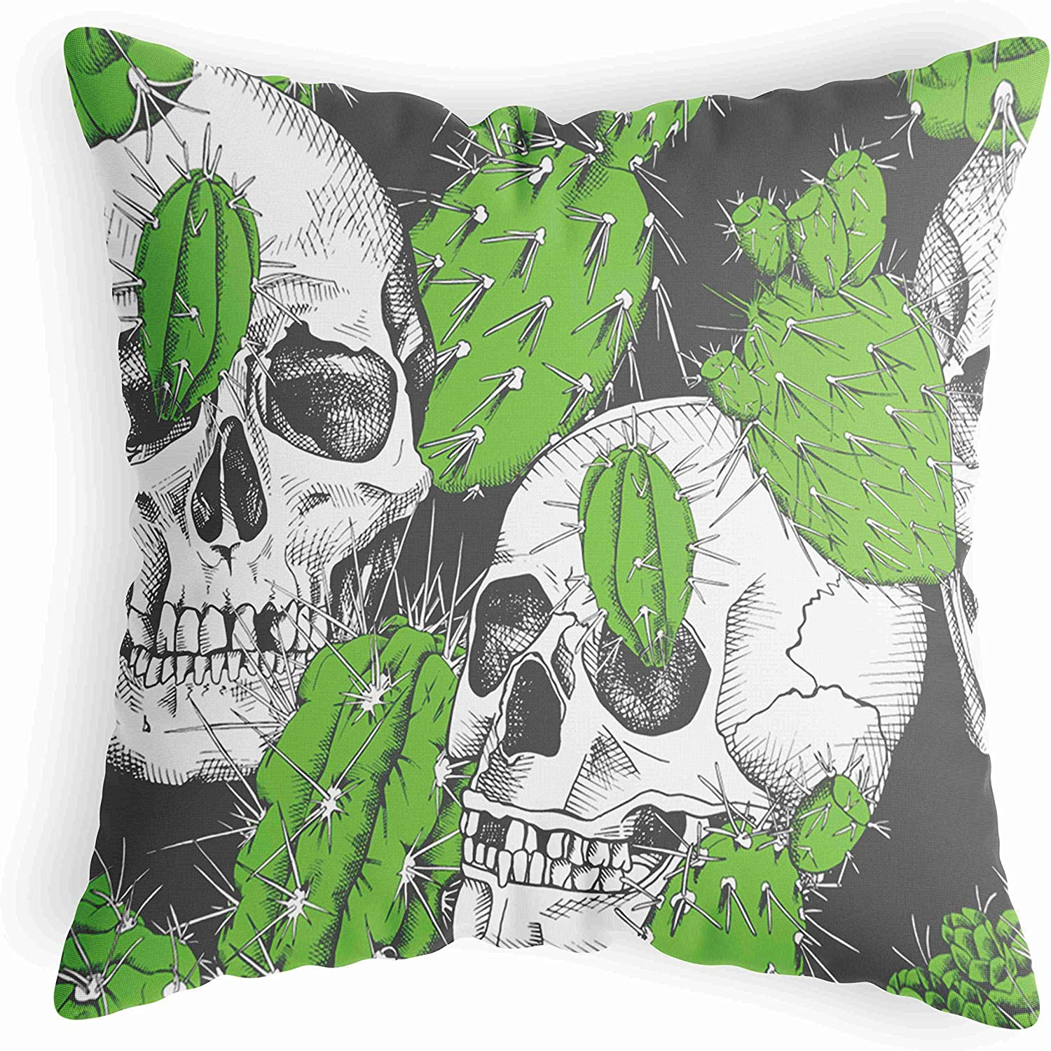 LucaSng Green Throw Pillow Covers 18X18, Tropical Cactus Throw Pillow Covers, Natural Plant Pillow Covers with Black Background for Living Room Bedroom Sofa Couch Car Seat Decor, White Black