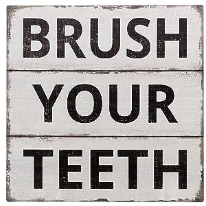 "Barnyard Designs Brush Your Teeth Sign Primitive Country Farmhouse Bathroom Quotes Home Decor Sign 11"" x 11"""