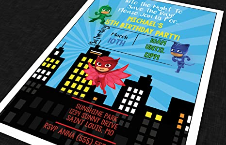 The Melange Market Custom Birthday Party Invitation - PJ Mask - Skyline (20 Invitations envelopes