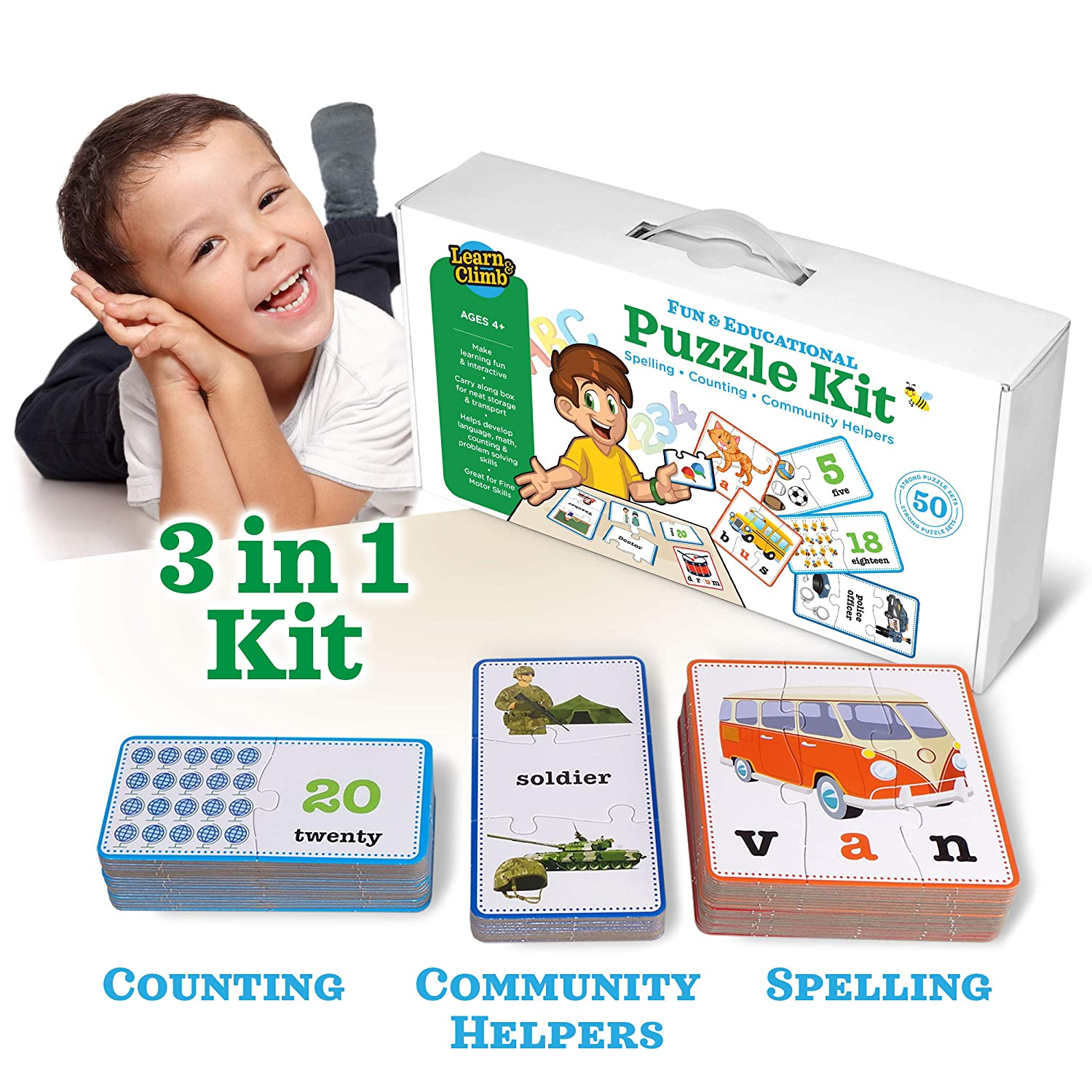 3 in 1 Educational Puzzles for Kids Toys Gift Set. 50 Pieces Puzzle for Boys Girls Preschool Children Toddler Ages 3 4 5 Up 2 8 Year Old. Learning Counting Spelling Numbers Community Helpers