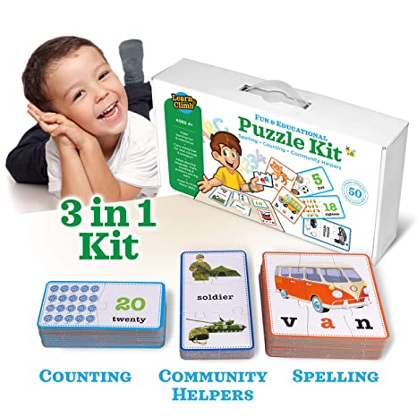 6322149add95 Amazon.com  3-in-1 Educational Puzzles for Kids Toys Gift Set. 50 ...