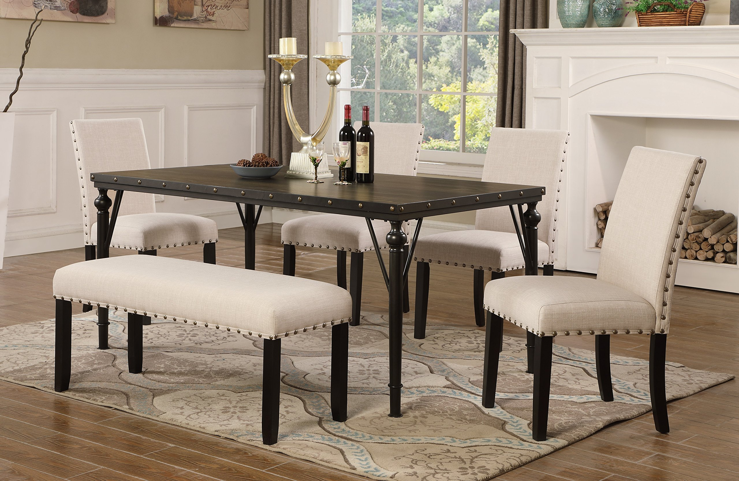Roundhill Furniture T163-C162TA-C162TA-CB162TA Biony 6-Piece Wood Dining Set with Nailhead Chairs and Bench, Tan by Roundhill Furniture (Image #7)