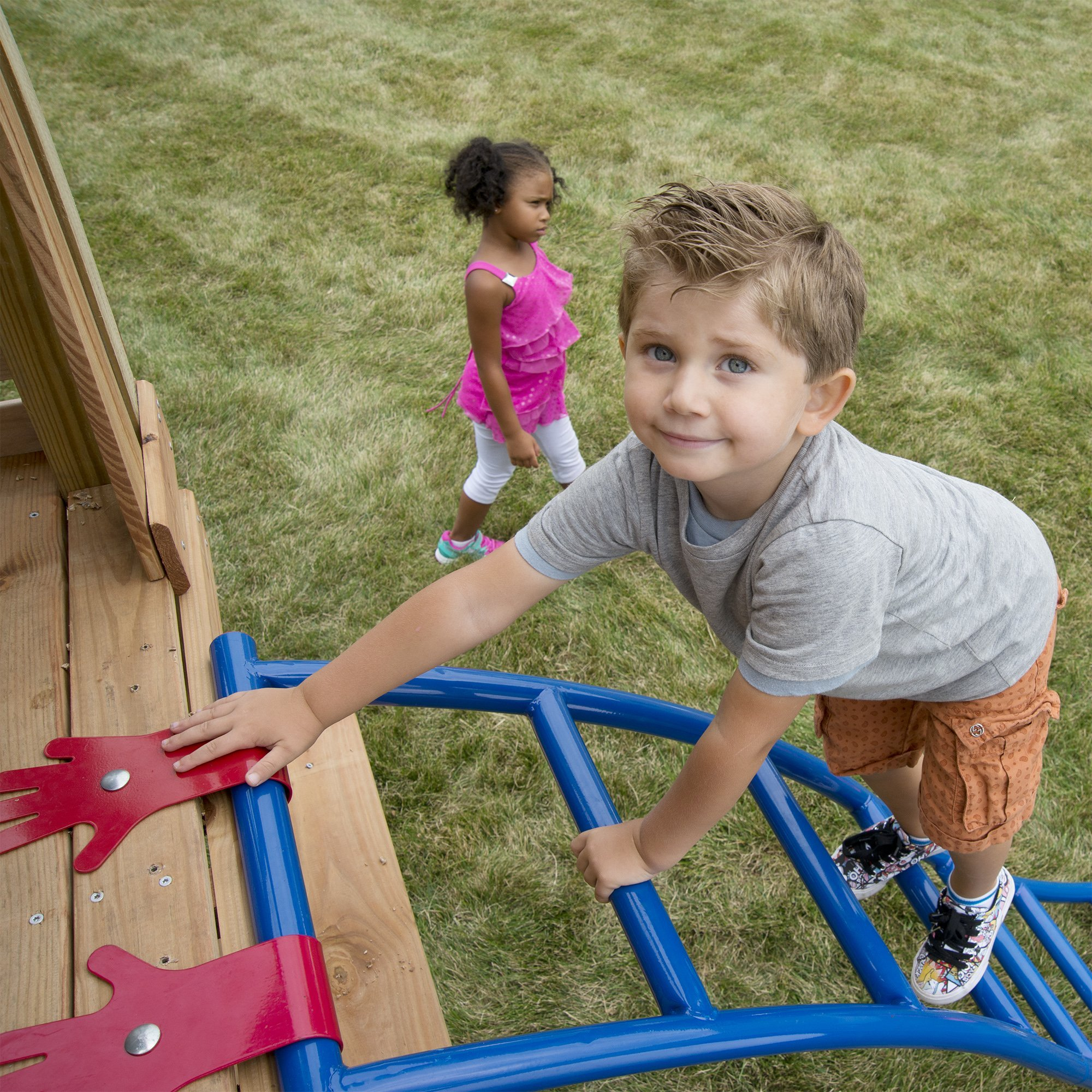 Swing-N-Slide NE 5040 Metal Arch Ladder with Multiple Configurations for Swing Sets, Play Sets & Playhouses, Blue & Red by Swing-N-Slide (Image #4)