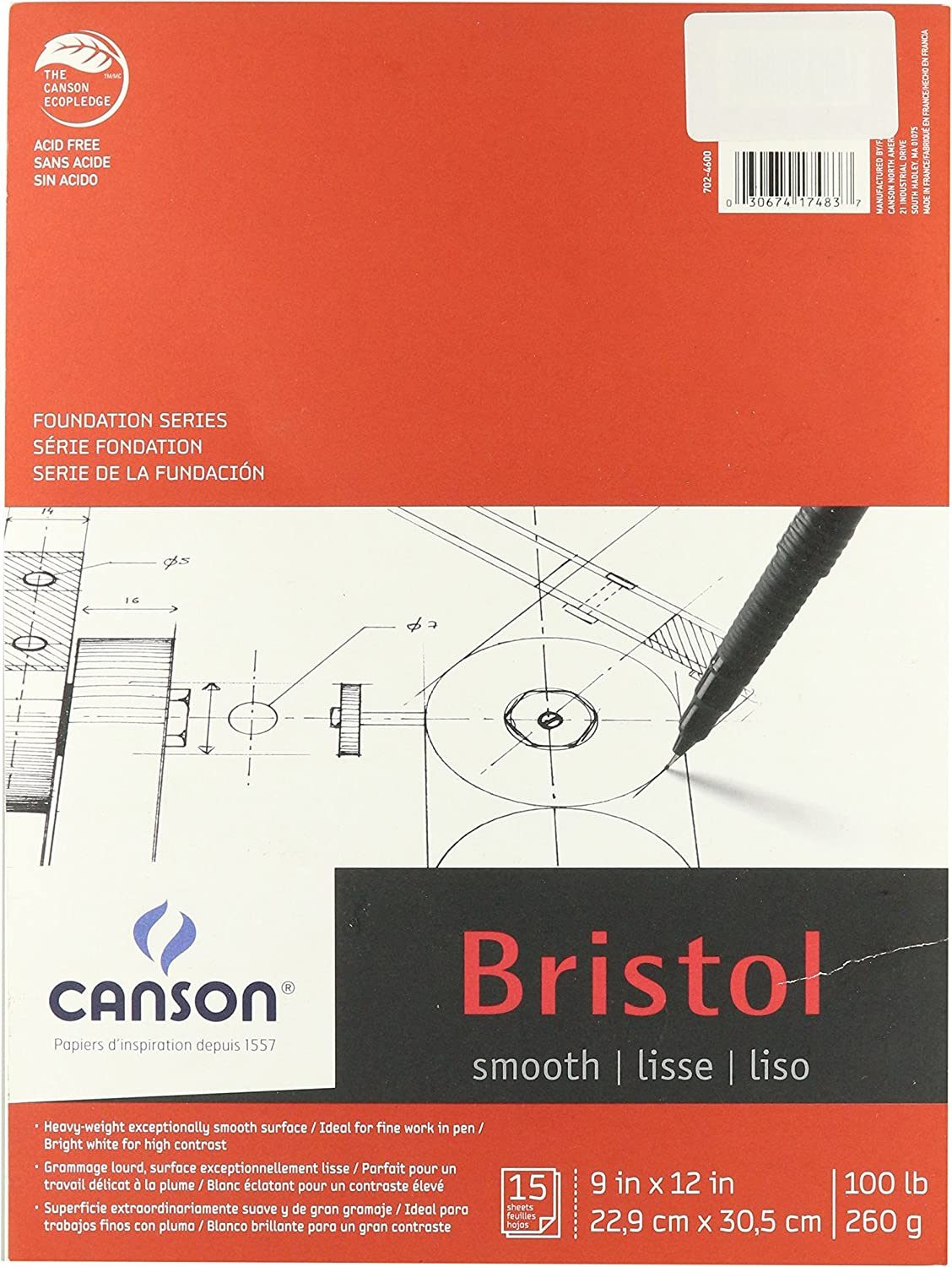 Canson Foundation Series 9 x 12 Inches Foundation Bristol Sheet Pad C702-4600