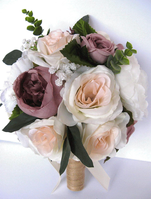 silk flower wedding bouquet champagne rose bridesmaid flowers spring wedding flowers Cherry blossom bridal bouquet boho weddings bouquet