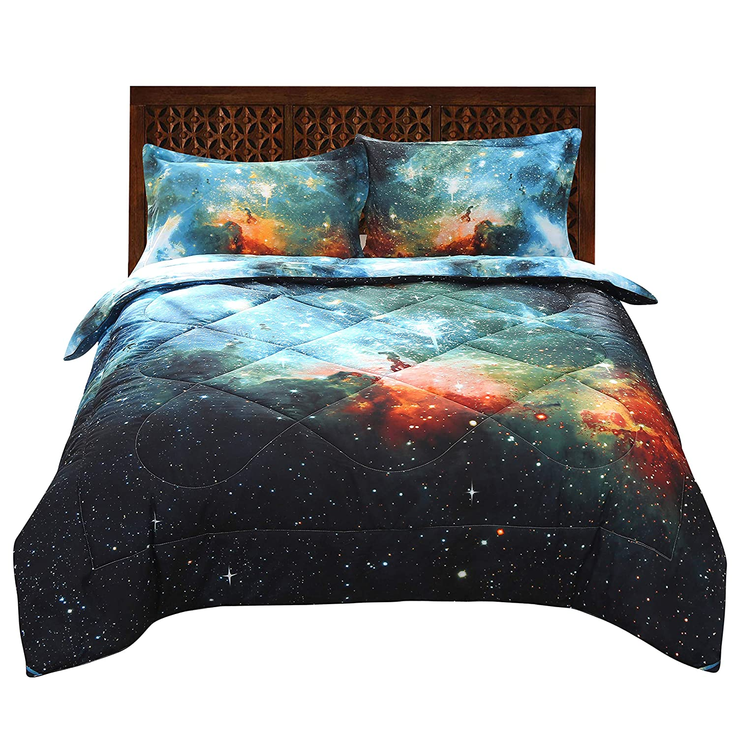 ENJOHOS Cool Galaxy Bedding for Kids 3D Universe Space Quilt Comforter Sets Twin Size Super Soft Starry Sky Bedding Gift for Boys and Girls (1Comforter 2 Pillow Shams)