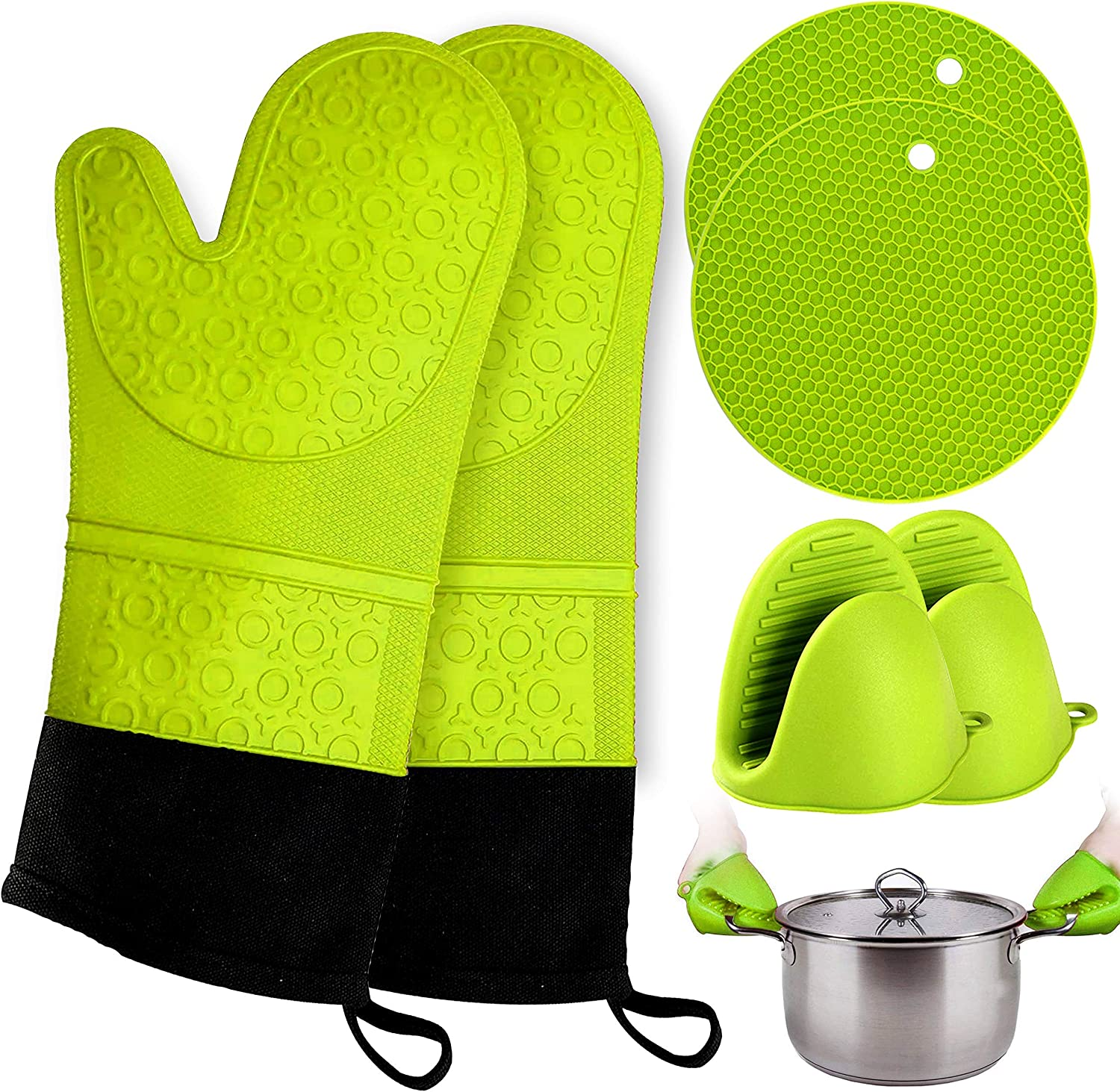 Oven Mitts and Pot Holder- Extra Long Silicone Oven Mitt Heat Resistant with 2 trivets & Mini Pinch Oven Mitts-Food Safe Baking Gloves for Cooking in Kitchen with Soft Inner Lining: Kitchen & Dining