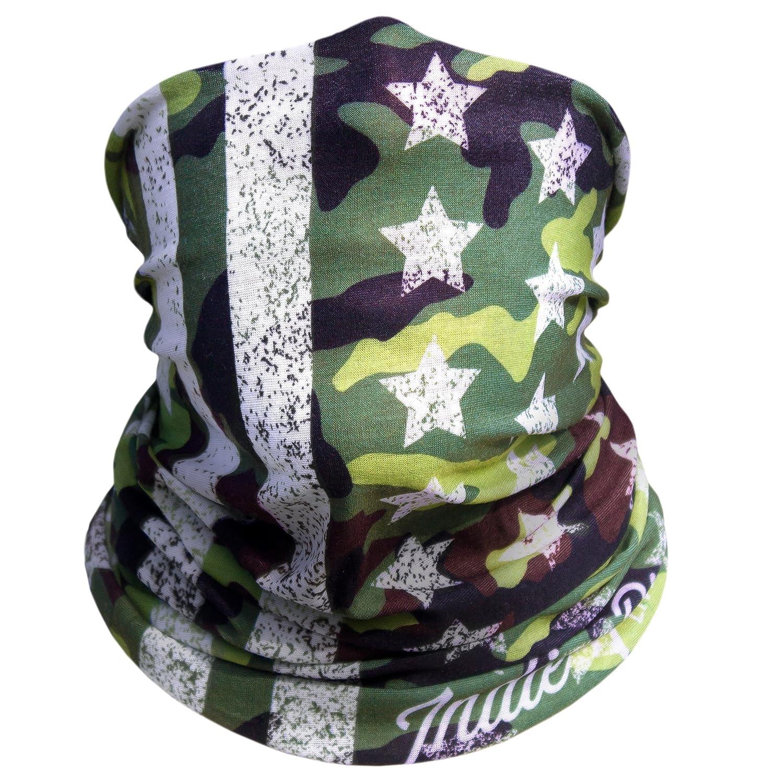Camo American Flag Outdoor Face Mask By IndieRidge - Microfiber Polyester Multifunctional Seamless Headwear Indie Ridge COMINU035002