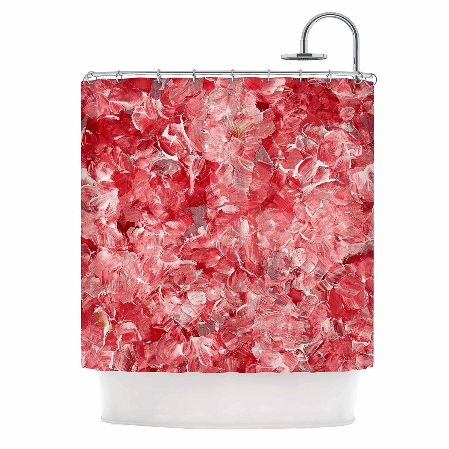 69 x 70 Shower Curtain 69 x 70 Shower Curtain JD1272ASC01 Kess InHouse EBI Emporium Bloom On Red White Pink Abstract