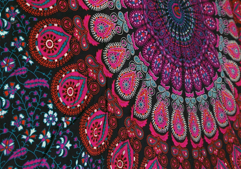 Maroon Aakriti Gallery Double Peacock Mandala Bohemian Hippie Hanging Pattern Indian Psychedelic Mandala Green 234 x 208 cm