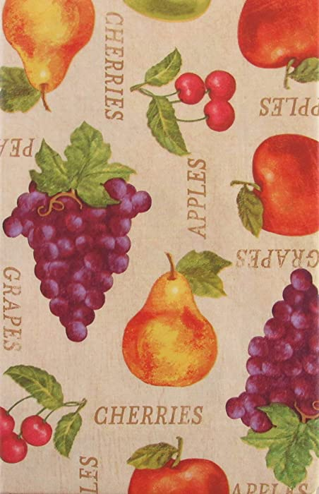 Apples, Cherries, Grapes and Pears Vinyl Flannel Back Tablecloth (52