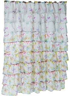 Carnation Home Fashions Carmen Crushed Voile Fabric Shower Curtains With Ruffled Tiers Butterfly