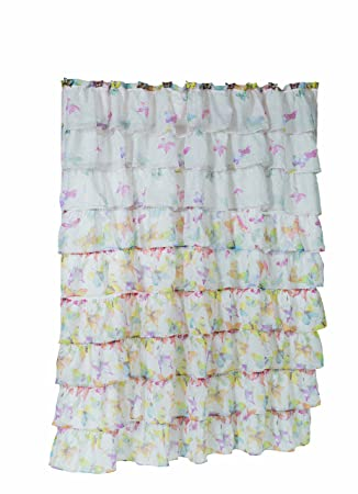 Carnation Home Fashions QuotCarmenquot Crushed Voile Fabric Shower Curtains With Ruffled Tiers