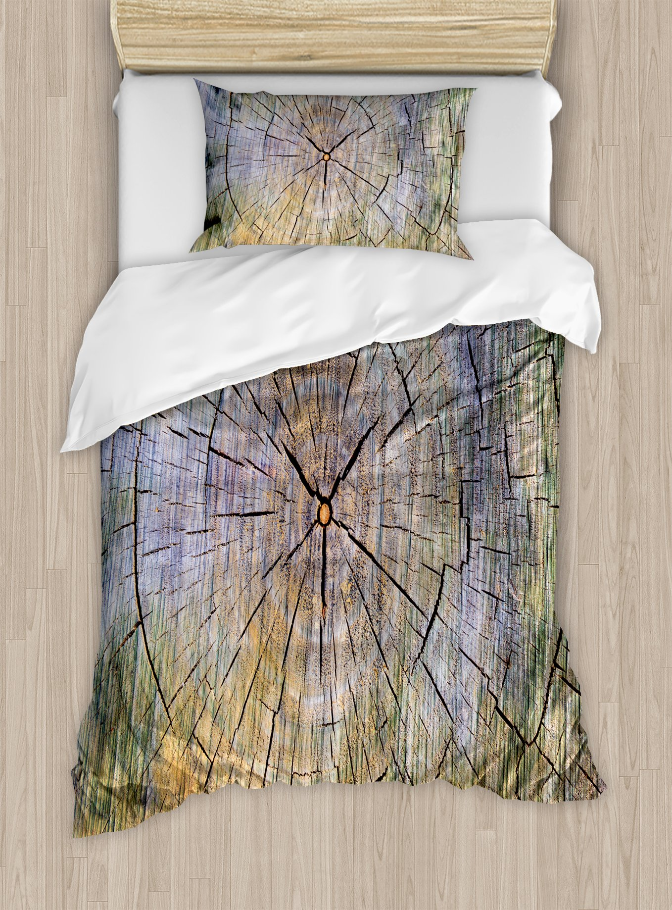 Ambesonne Rustic Duvet Cover Set Twin Size, Annual Rings of Wood Growth Aging Theme Dirty Inner Tree Body Branch Whorls Width Design, Decorative 2 Piece Bedding Set with 1 Pillow Sham, Brown by Ambesonne (Image #1)