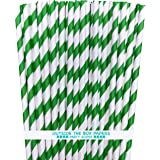 Striped Paper Straws - Green White - 7.75 Inches - Pack of 100 - Outside the Box Papers Brand