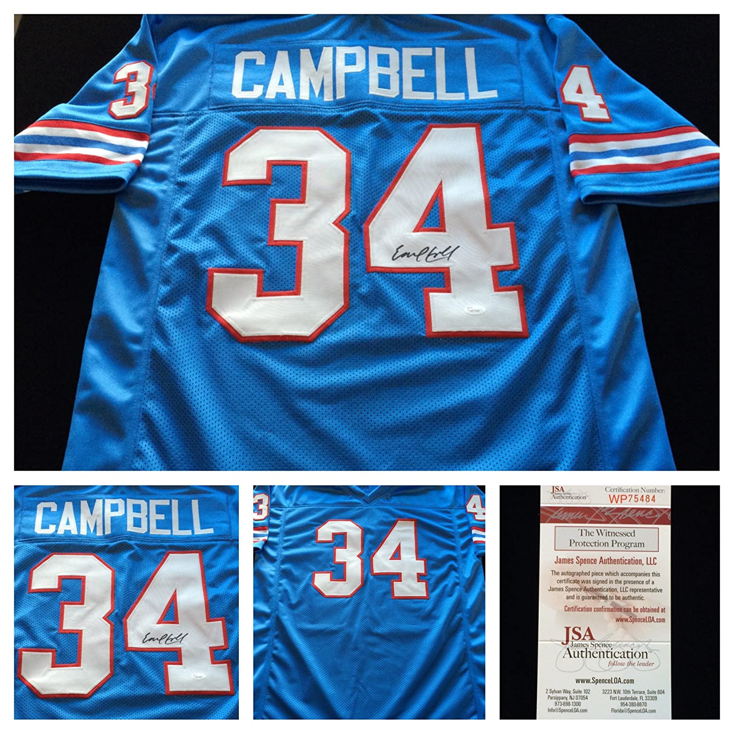 uk availability b8daf 19048 Earl Campbell Houston Oilers Signed Autograph Blue Jersey. JSA COA