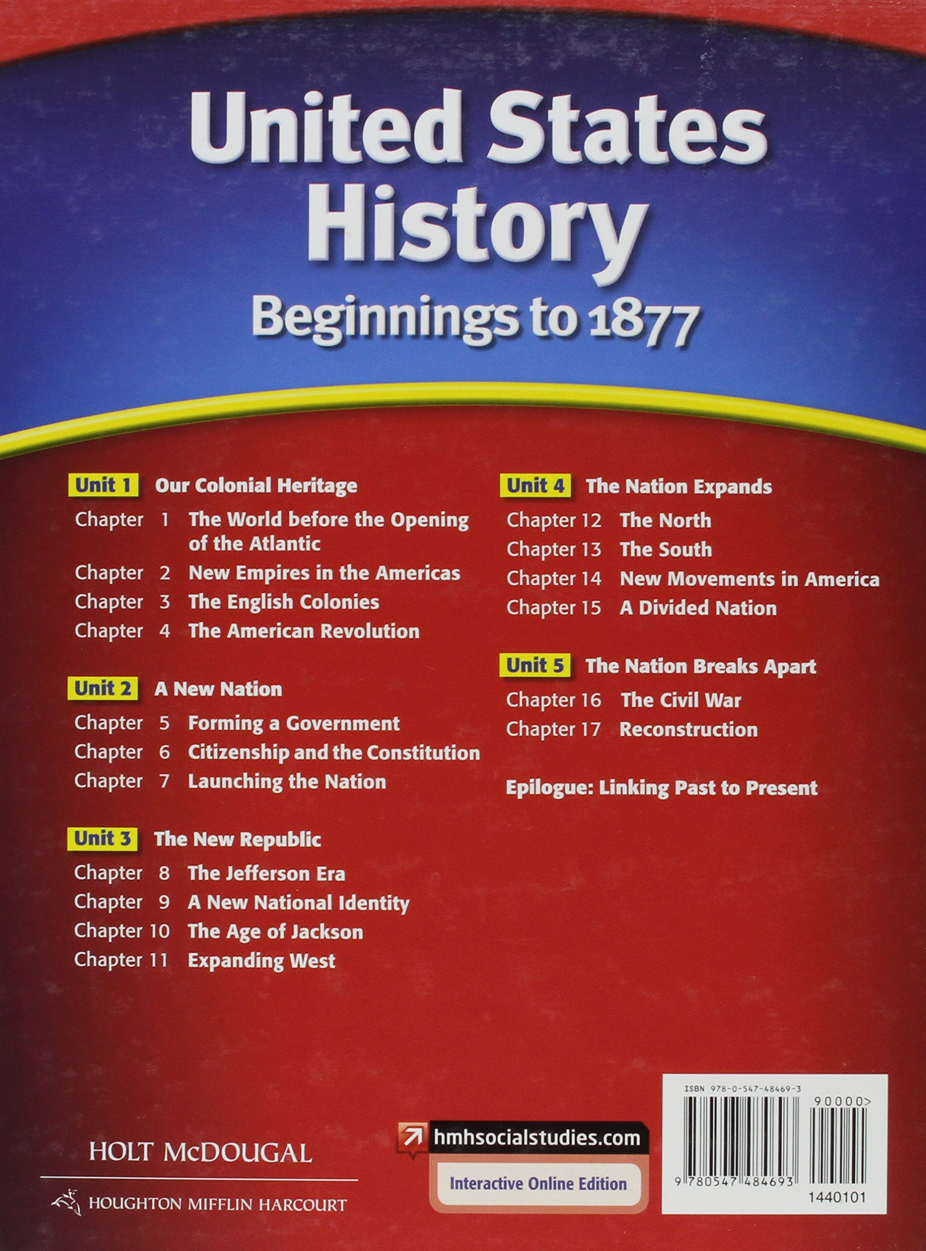 United states history student edition beginnings to 1877 2012 holt united states history student edition beginnings to 1877 2012 holt mcdougal 9780547484693 amazon books fandeluxe Images