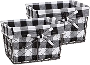 DII Farmhouse Chicken Wire Storage Baskets with Liner, Black Check, Medium S/2, 2 Piece