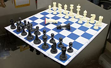 StonKraft 17 x 17 Tournament Chess Vinyl Foldable Chess Game with Solid Plastic Pieces (with Extra Queen) - Ideal for Professional Chess Players, Blue