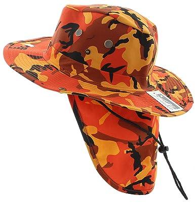 369d17131a1e8e Wide Brim Unisex Safari/Outback Summer Hat w/Neck Flap (Large, Orange  Camo): Amazon.in: Clothing & Accessories