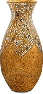 Zorigs Floor Vase – Tall Cylinder Made of Terracotta with Yellow Tan Glass Mosaic Pieces – Exquisite Home Decor Accent Piece – 24 x 13 Inches - for Hallway, Bedroom, Living Room