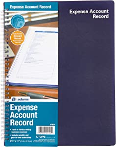 Adams Expense Account Record Book, Spiral Binding, 8.5 x 11 Inches, Clear (AFR20)