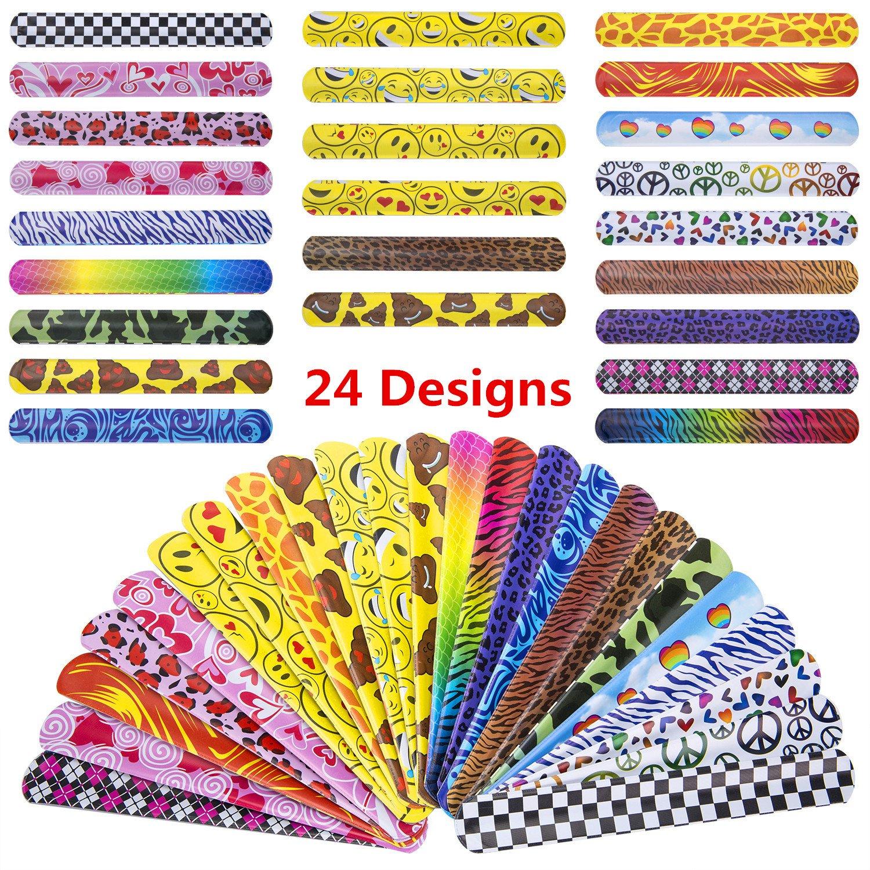 JOSENI 72 PCs Slap Bracelets Toys Party Favors Pack (24 Designs) with Colorful Hearts Emoji Peace Animal Prints-Birthday School Classroom Prize For Kids Boys Girls by JOSENI