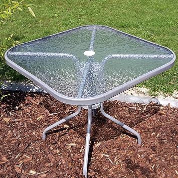 Amazon De Gartentisch 80x80 Cm Mit Glasplatte Bistrotisch