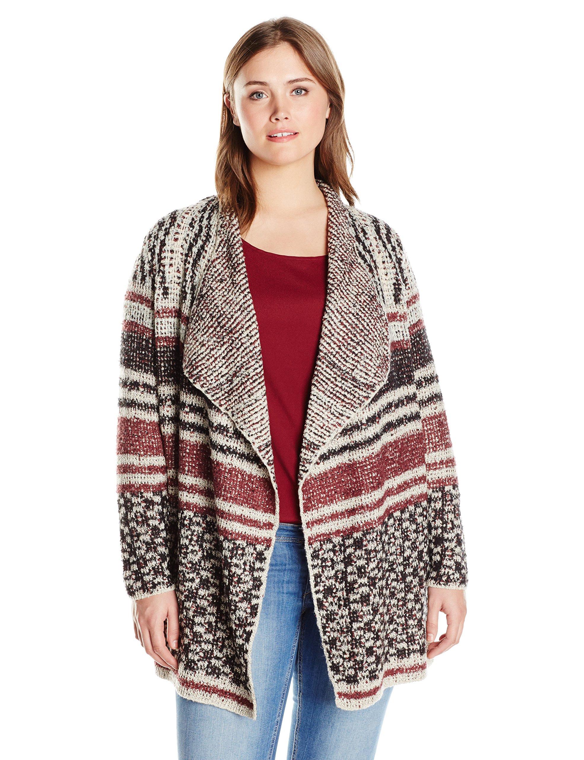 Lucky Brand Women's Plus Size Mixed Stripe Cardigan, Multi, 2X