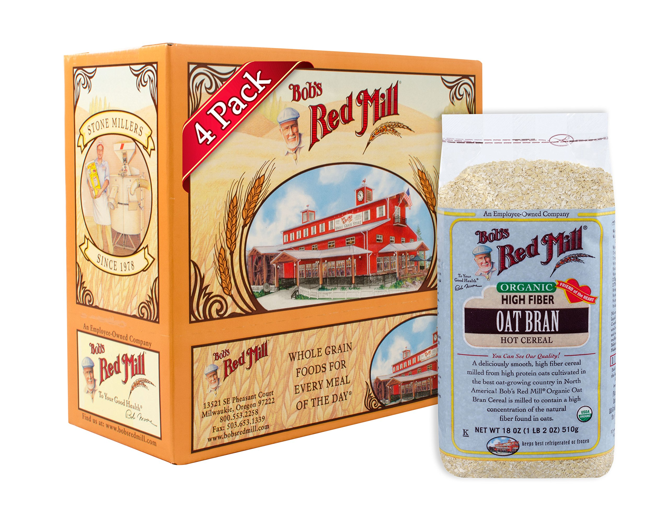 Bob's Red Mill Organic Oat Bran Hot Cereal, 18 Ounce Bags (Pack of 4)